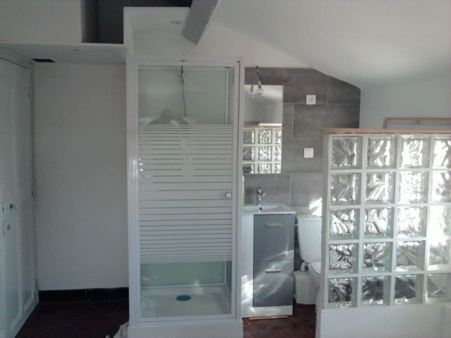 Les sanitaires, douche, lavabo et WC.