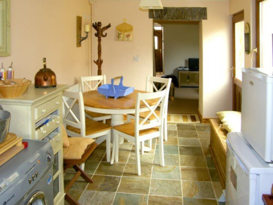 The kitchen with lovely granite floor