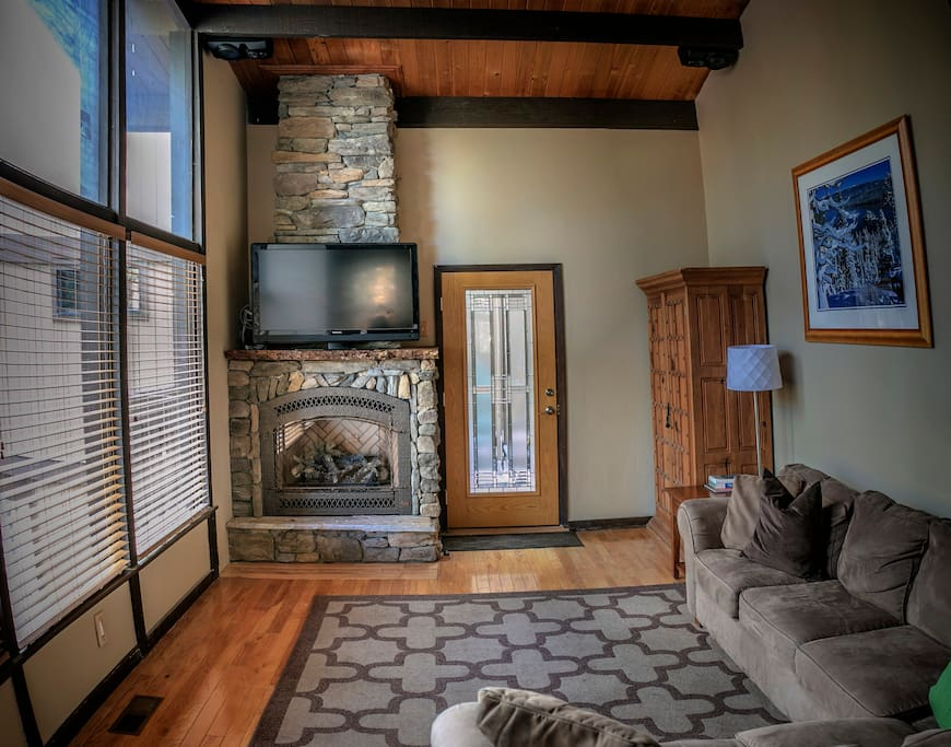 Living Room.   Gas fireplace with on/off wall switch.