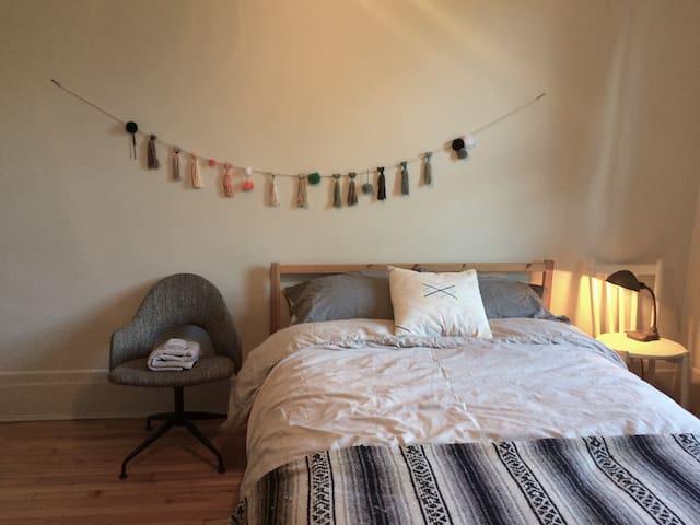Bedroom in light-filled apartment-Hochelaga