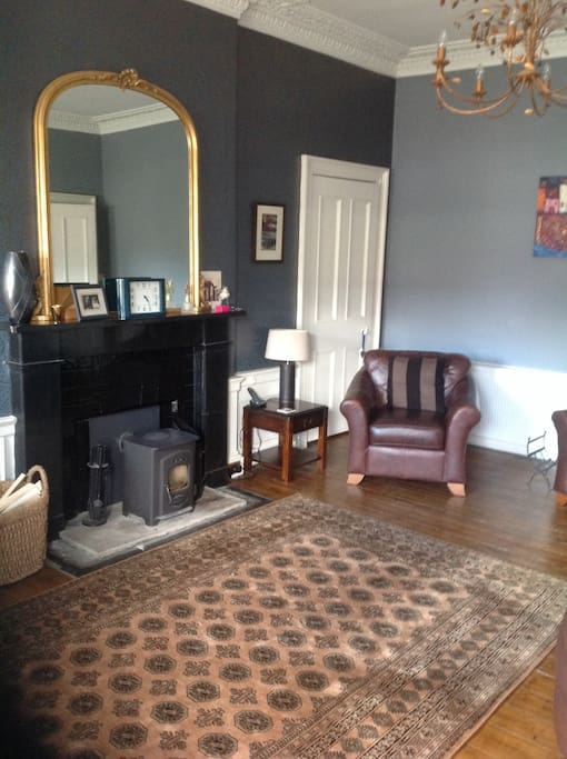 Drawing room with wood burning stove