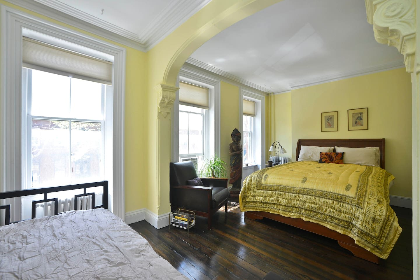 Big, beautiful room with comfy bed. Not quite this yellow.