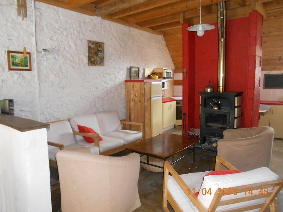 vaste séjour avec cheminée, bois à disposition