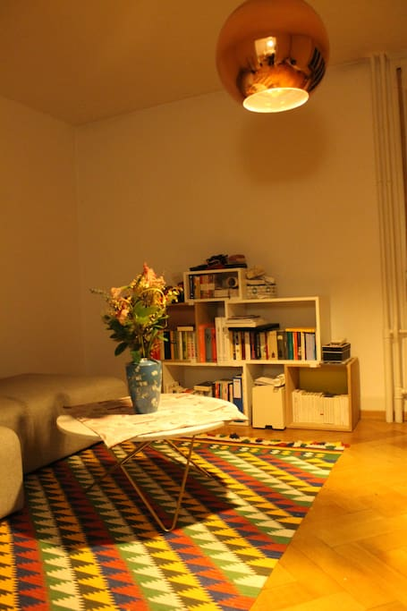 Living room with lots of books.