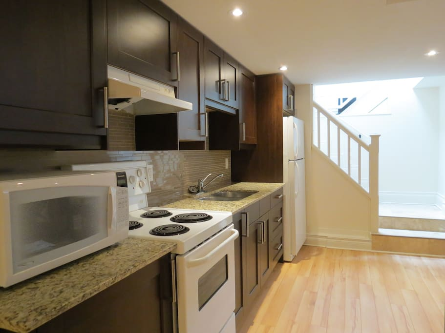 Kitchen is renovated and is equipped with all the needed utensils.