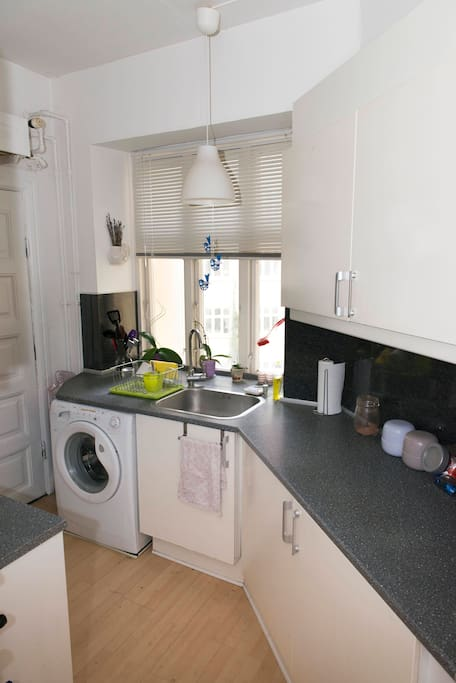 Good sized kitchen with a washing machine to do a bit of laundry!