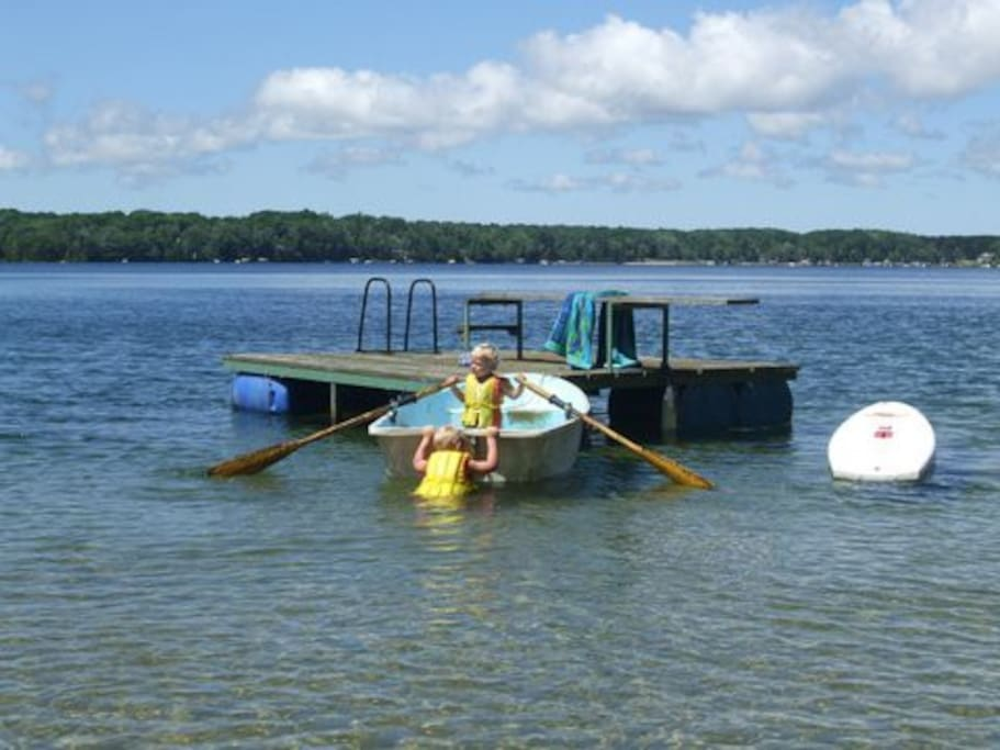 Long Lake raft and visiting grandkids