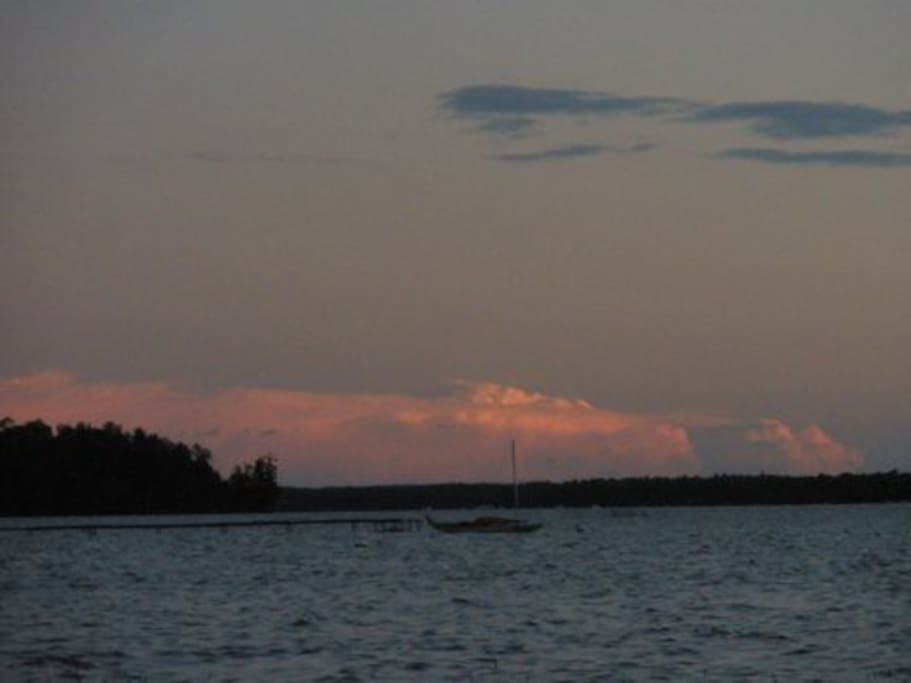 Sunset from the beach of Long Lake