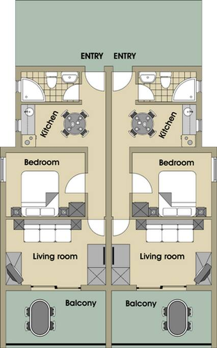 Plan of the Apartment( two apartments, side by side)