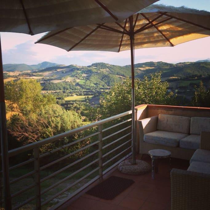 uitzicht vanaf het balkon van Sopra