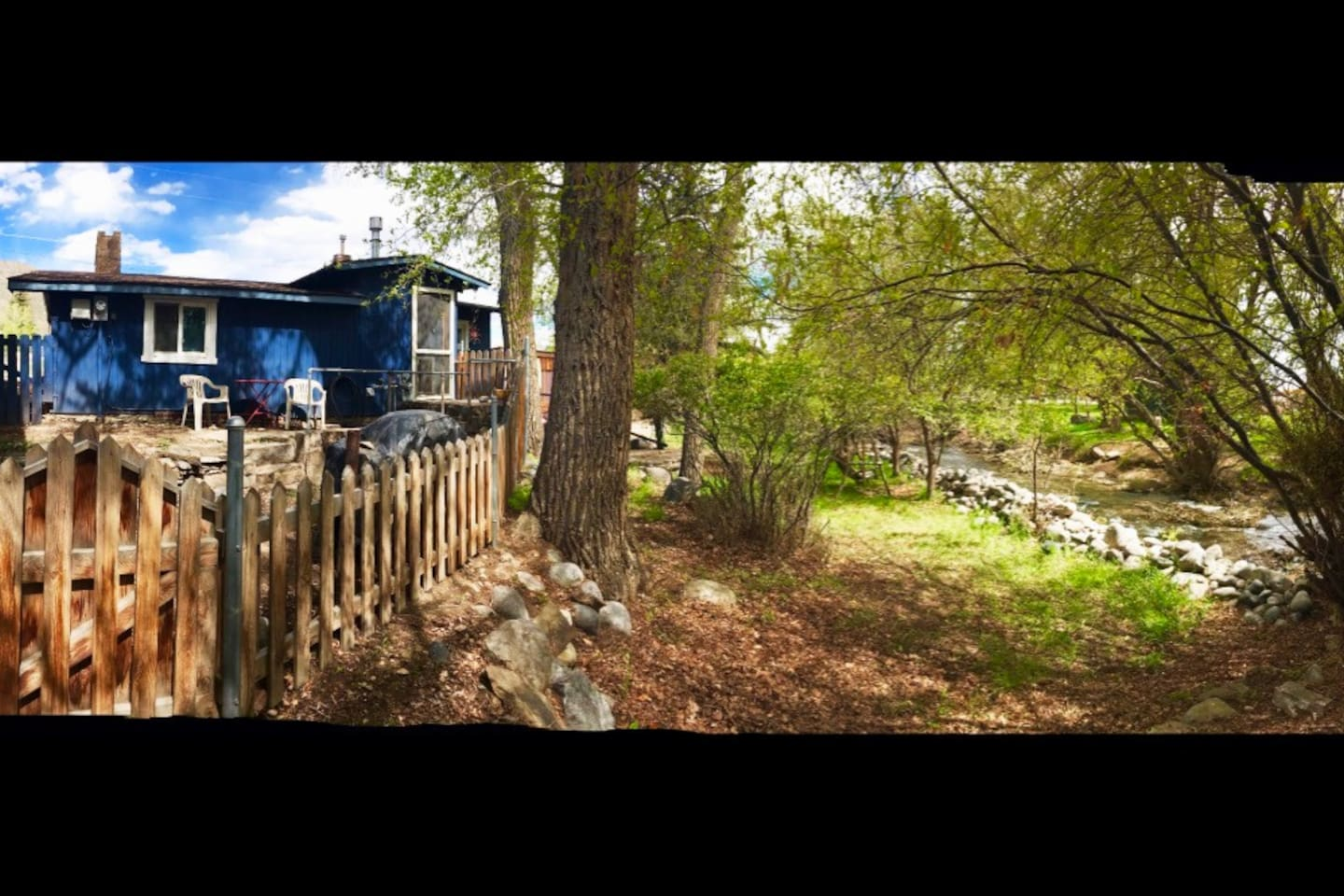 Cabin on the Cottonwood Creek.  The entire backyard has the creek running through it.  Enjoy the quiet and privacy of the grounds  just moments to Main St.