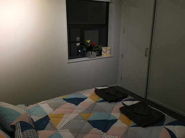 Bed, external window and cupboard.