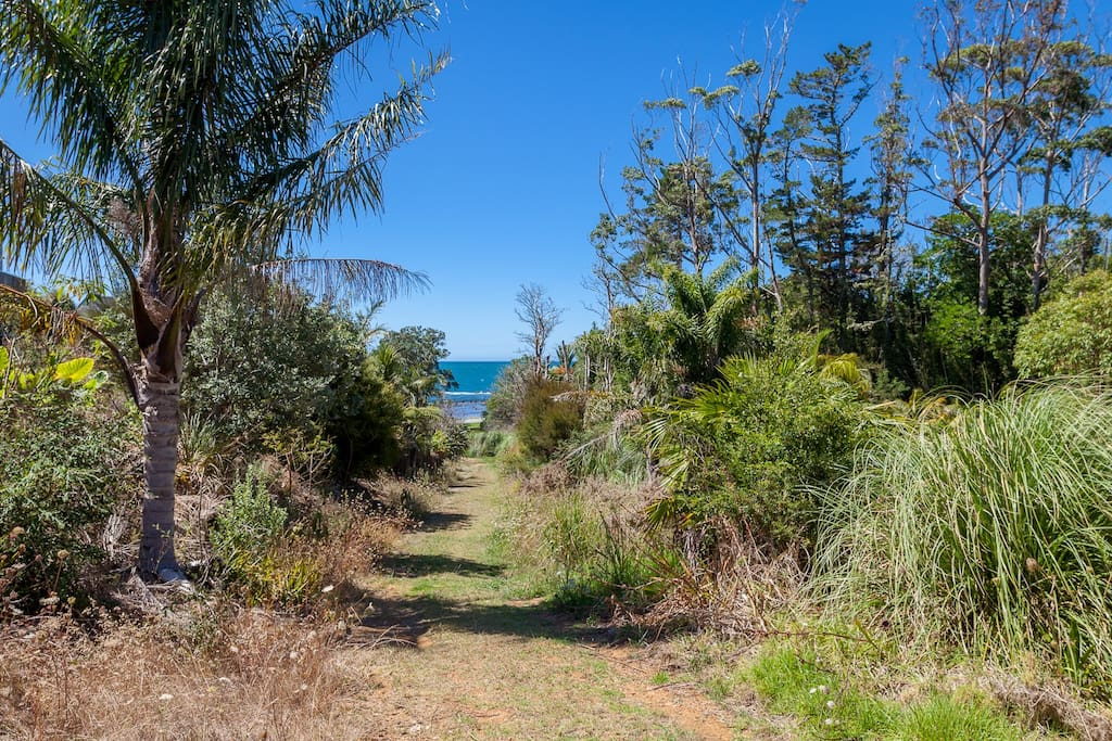 Chucks Cove is 100m down a grassy path from the bottom of our property