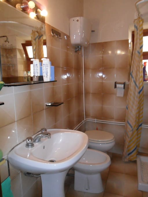 shower, toilet, sink and electric boiler