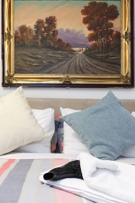 King Size Bed and Art all around!