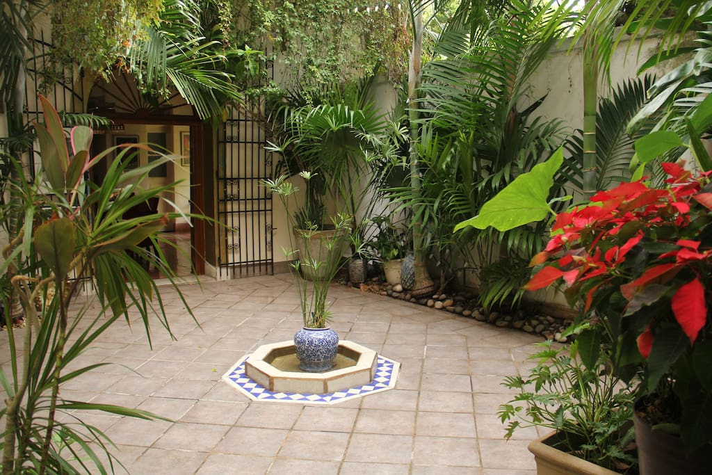 interior courtyard where breakfast is served daily