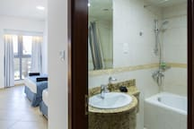 2nd bedroom offering 160 cm bed + 140 cm bed and private bathroom