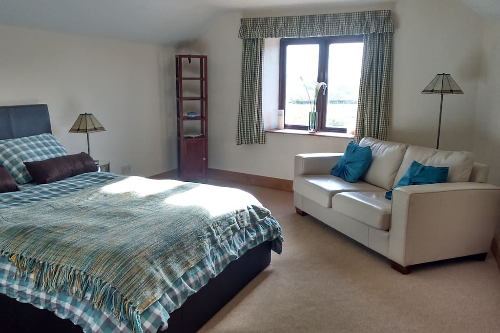 Just the best room in the house!  Comfy kingsize bed, bed settee for sitting or sleeping funnily enough.