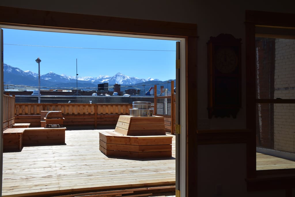 Livingston's Sleeping Giant from your couch, and the private South facing deck