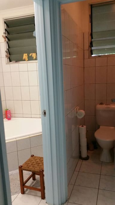 Separate bathroom and toilet
