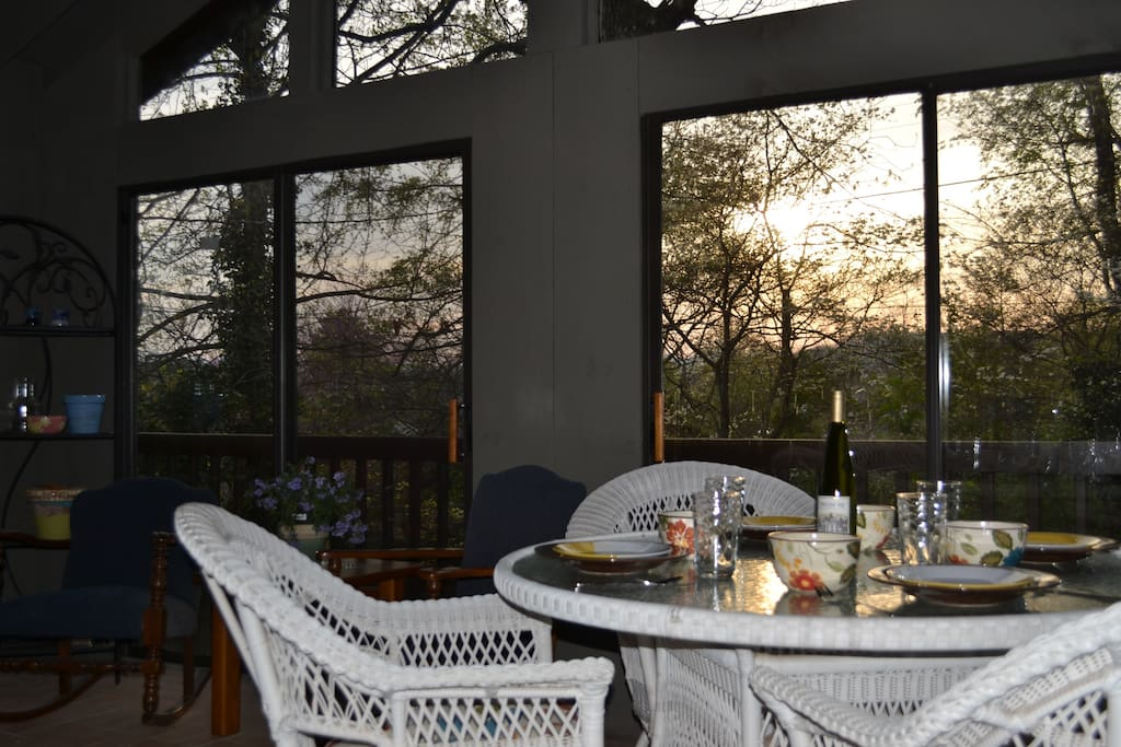 Sunroom Early Evening...6 Sliding Glass Doors With Screens and a Ceiling Fan to Get Cool