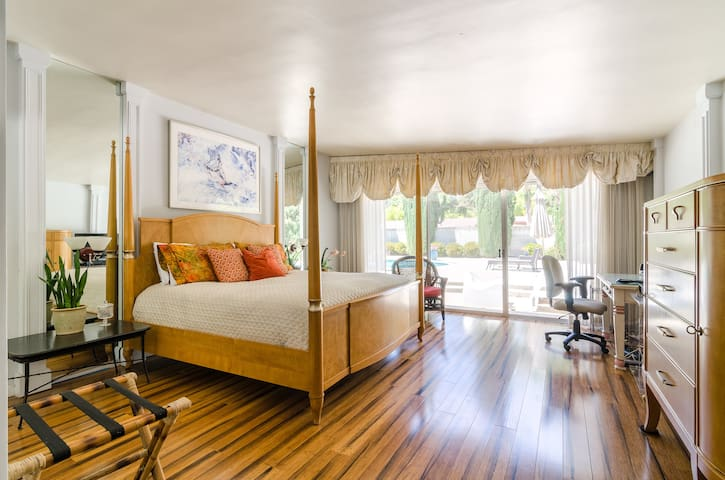 Our master bedroom features wide plank bamboo flooring for a very luxurious look!