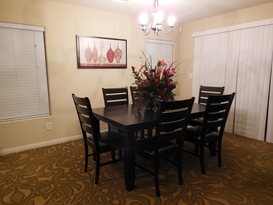 Dinning Room with 6 Chairs & 3 Seat Bench