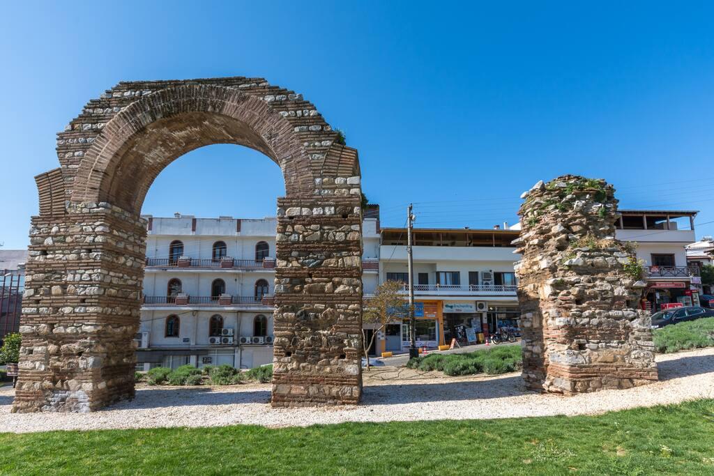Selcuk Ephesus Castle View Suites as seen thru the Aqueduct