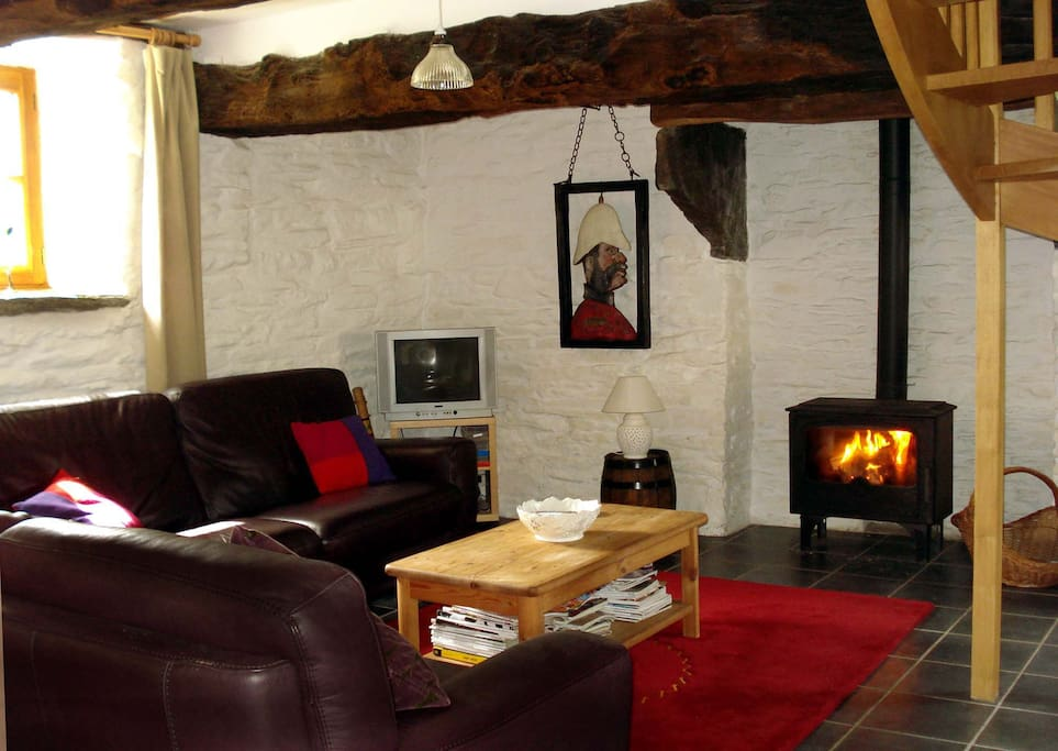 Seating area with wood burner