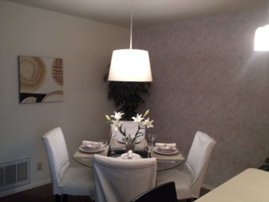 Dining area with new modern decor.