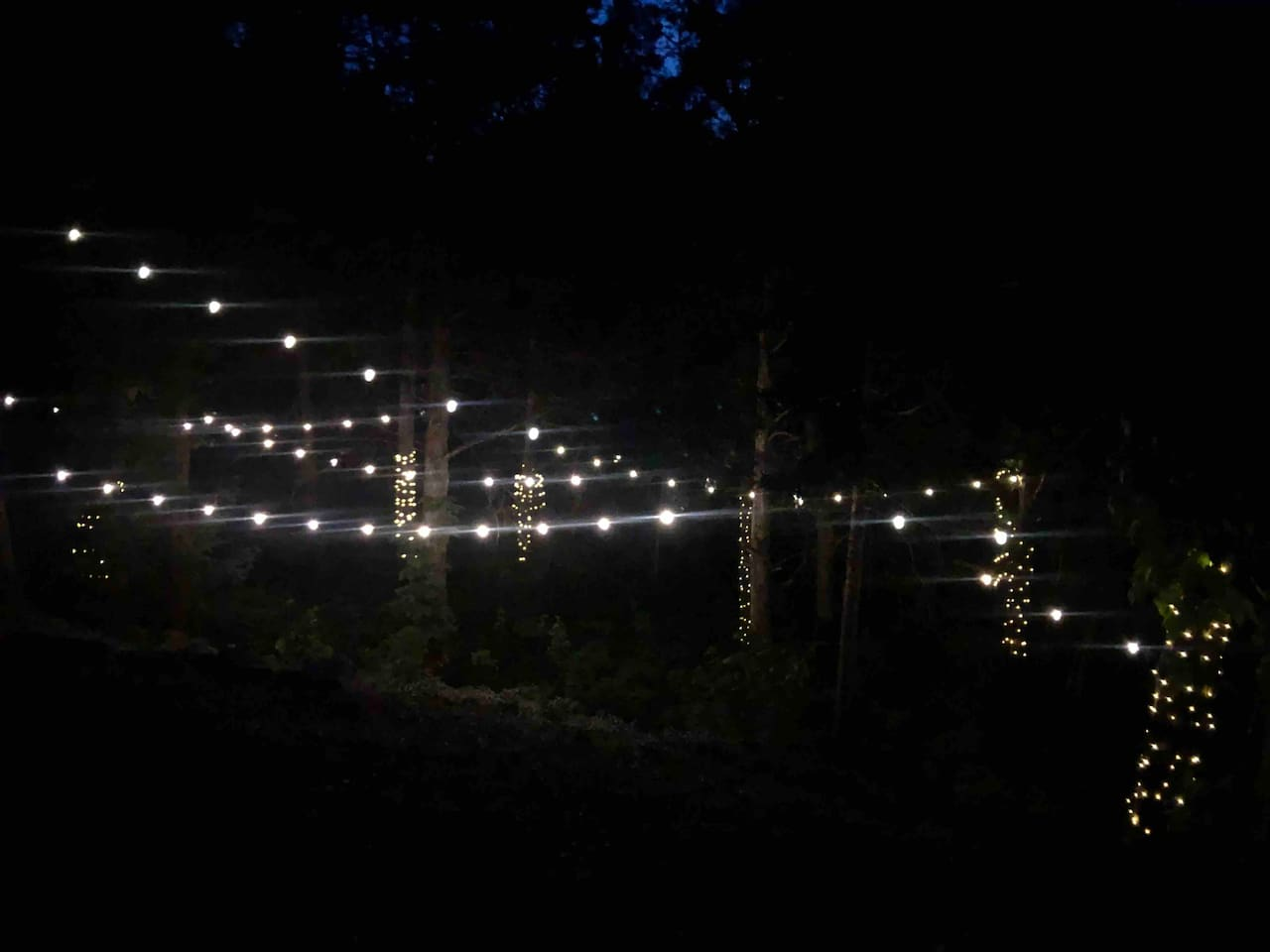 Enjoy the evening with our perfectly quaint + lighted backyard.