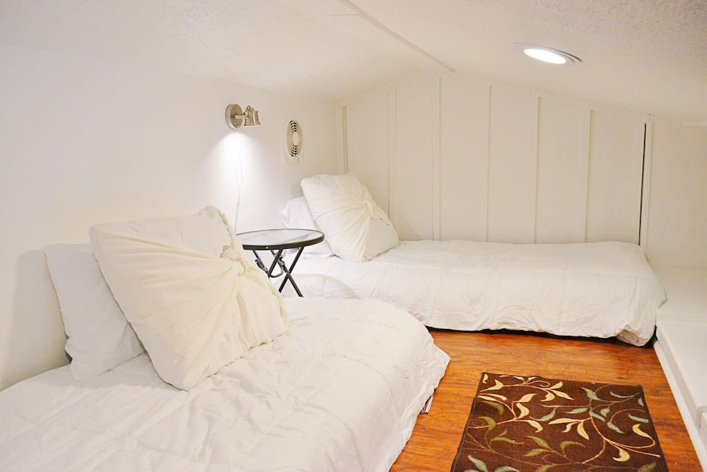 Twin beds in loft for adults