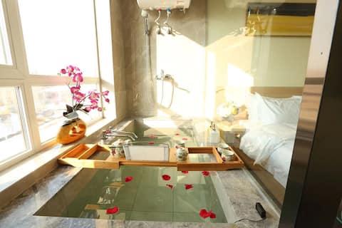 青旅遇尚私汤温泉公寓酒店——山景大床房