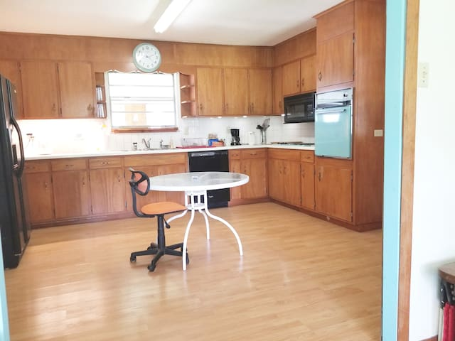 Fully equipped kitchen with Sixties vintage turquoise appliances and recent fridge with ice maker, dishwasher, microwave, etc.