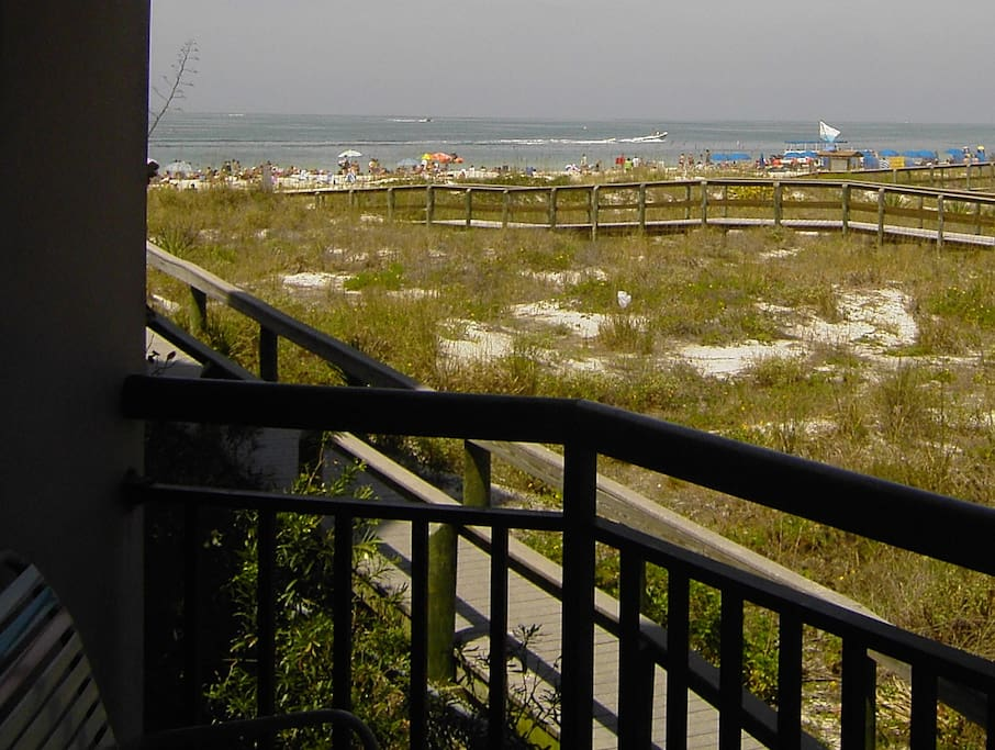view of gulf over the marsh from balcony