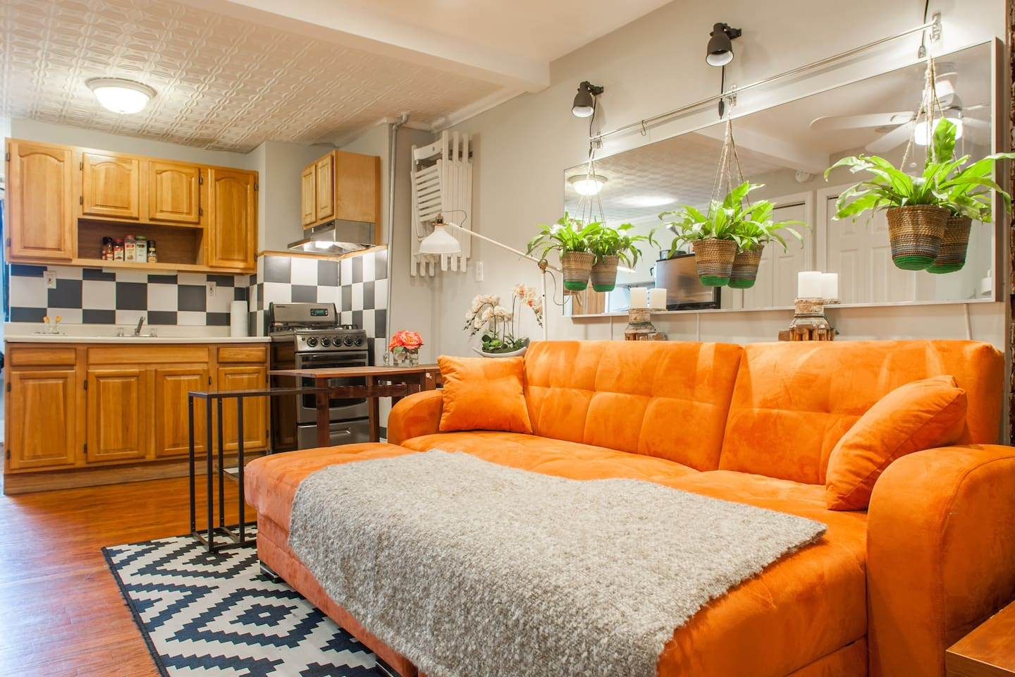 NYC style apartment can host larger groups in this tiny apartment at a great rate.