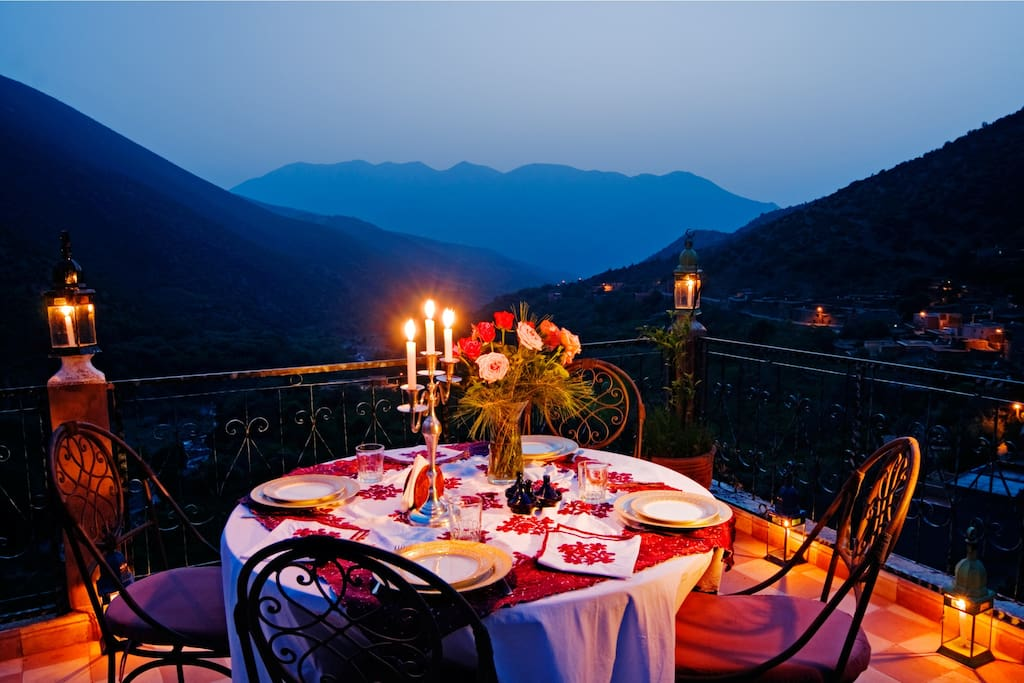 Dining at night on terrace