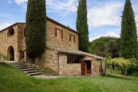 "This completely independent property with 4 bedrooms, 3 baths, and private pool is a classic stone farmhouse situated on the edge of the historic town of Montalcino, home of the famous ""Brunello"" wine."