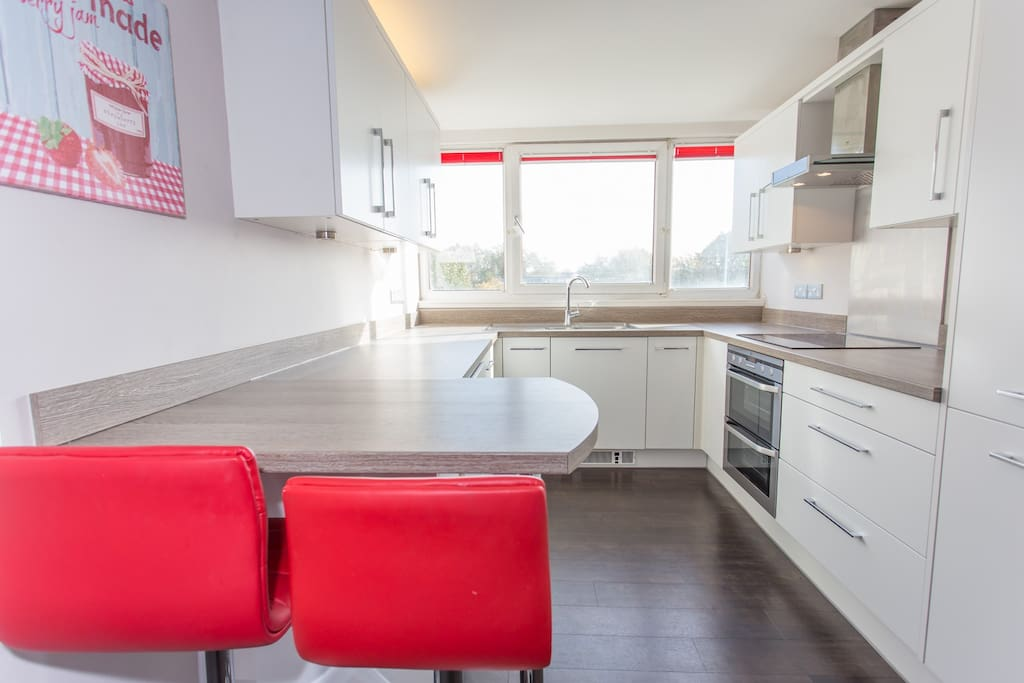 Charming modern kitchen, with breakfast bar and views over Windsor Castle