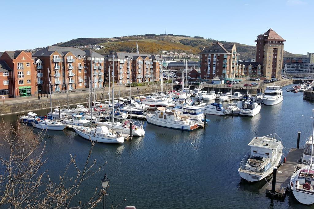 View from balcony.  Swansea Marina.