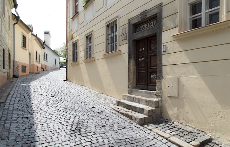 Entrance to the house on a cobblestone street leading to Castle