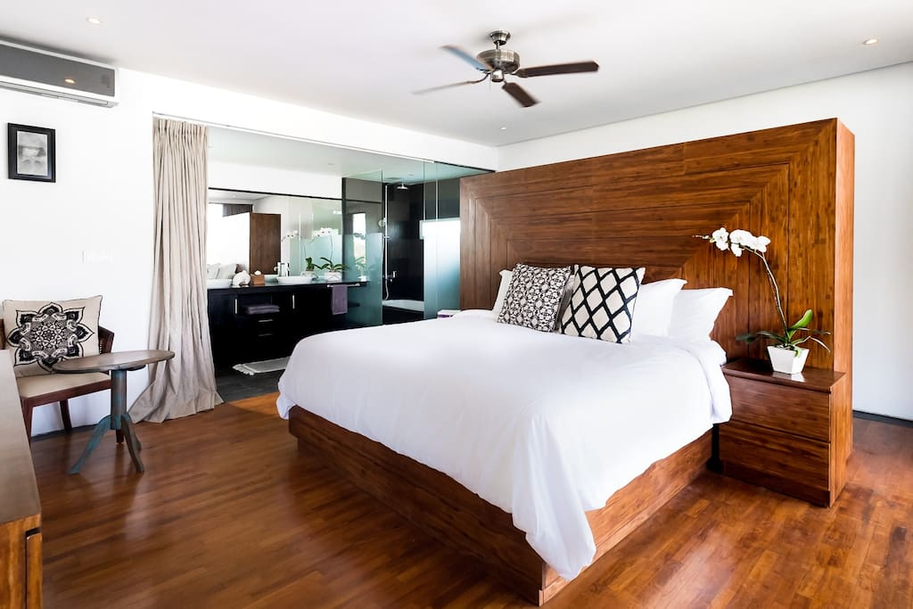 Large master bedroom with king-sized bed