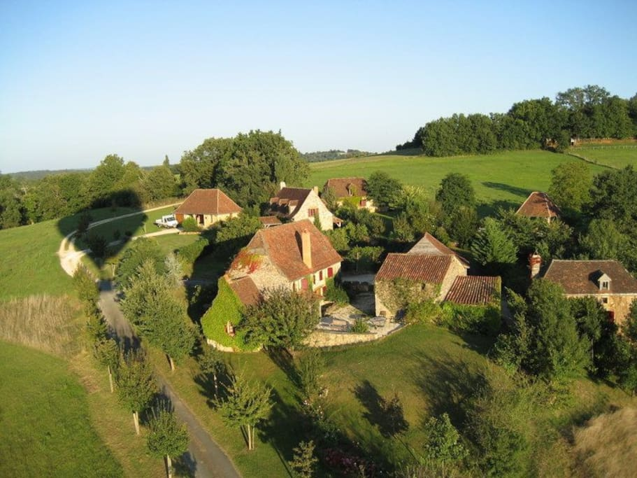 The gites in the front left of the small estate
