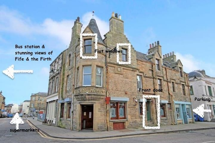 The flat in the centre of Bo'ness, close to all the amenities and watering holes.