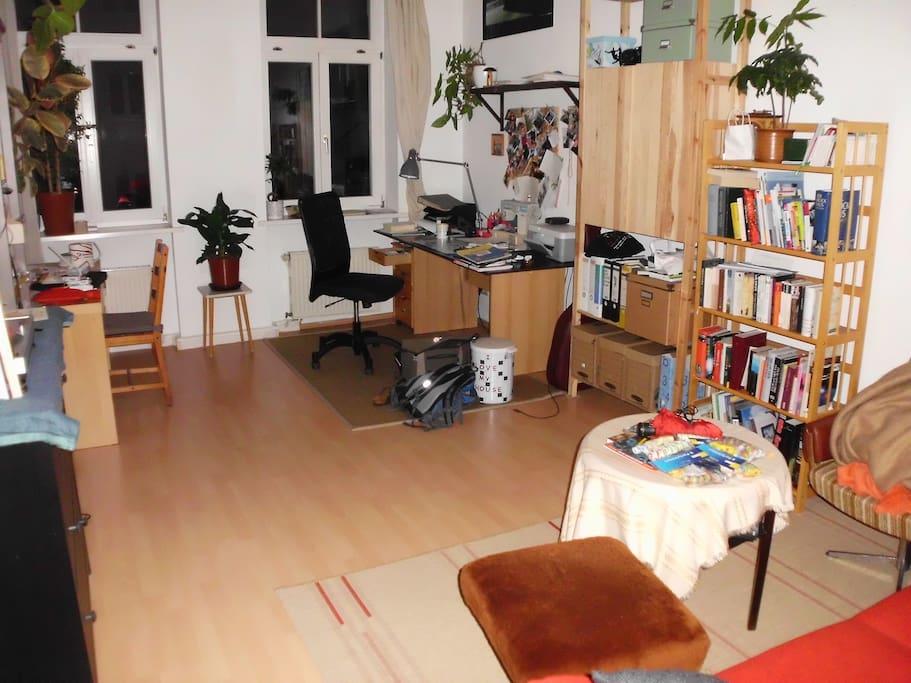 Wohnzimmer mit Platz für 2-3 Personen, eine Couch (zum Schlafen für 1 Person geeignet)