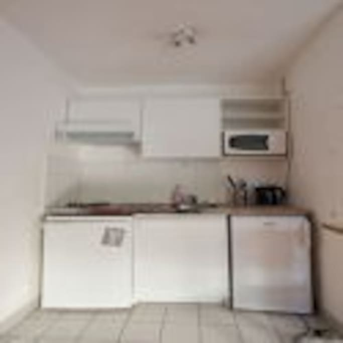 Kitchenette with fridge, freezer, cooking plates, microwave, water boiler
