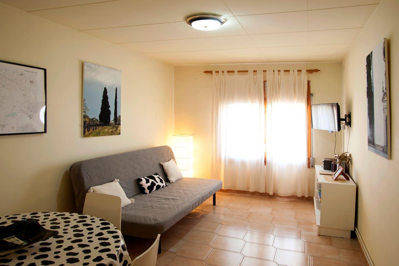 El salón comedor tiene un sofá que se convierte en una confortable cama de matrimonio (1,50 x 2,00 m).