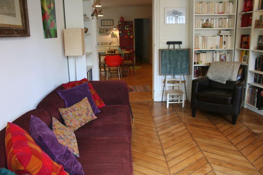 Salon avec bibliothèque, écran plat, canapé convertible (2 couchages)