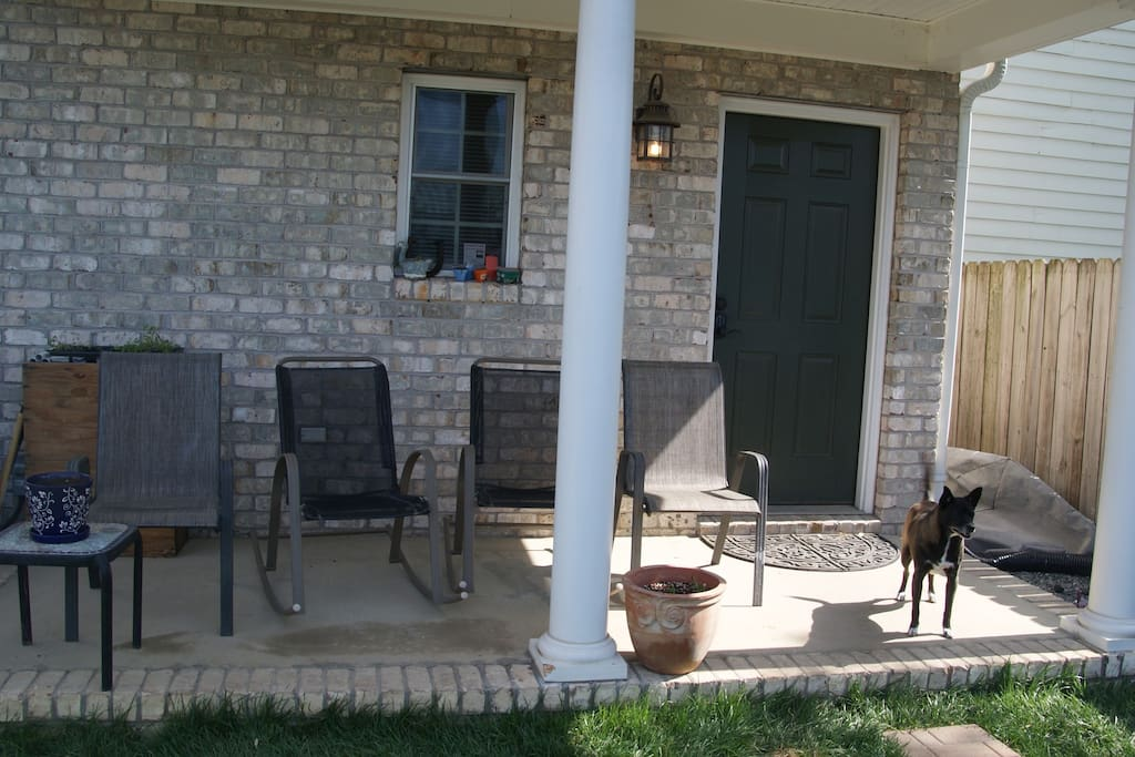 Porch & yard are amazingly private.  There is one of our dogs, Jordan