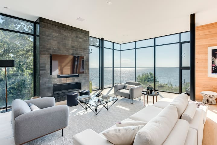 Living Room with Bay Views